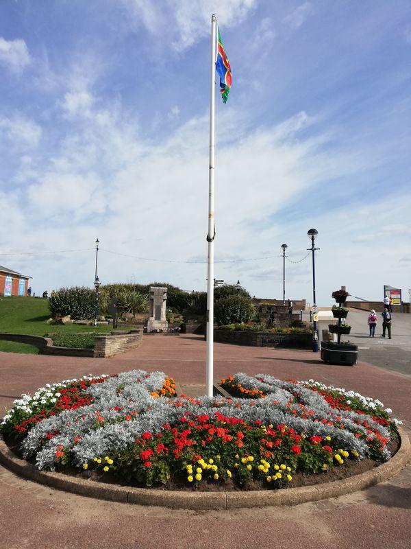 Sutton on Sea War Memorial and Lincolnshire Flag